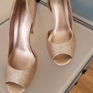 Shimmery Rose Gold Peep Toe Sandal
